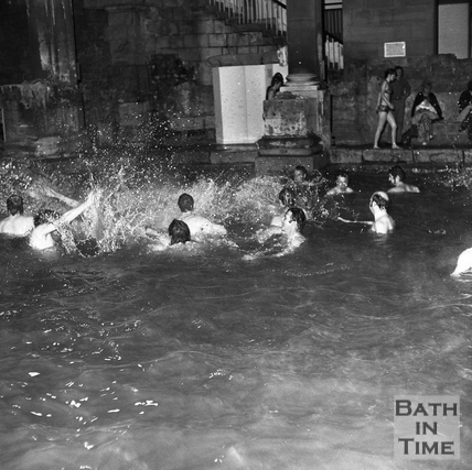 Revellers in the Great Bath 31 May 1973