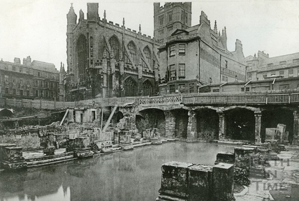 An early view of the Roman Great Bath, looking towards the Abbey c.1890