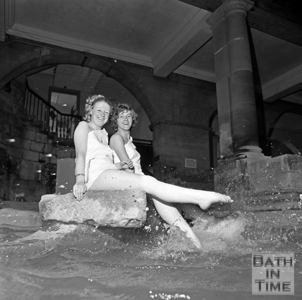 Making a splash in the Roman Great Bath June 1971