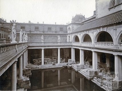 The newly constructed upper level to the Roman Baths c.1900