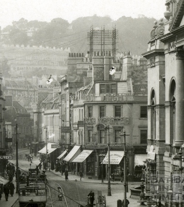 High Street with trams, view from Bath Abbey c.1915 - detail