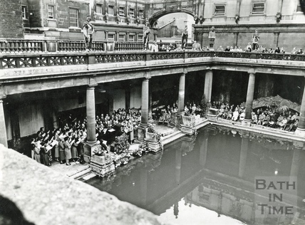 A choir performing at the Roman Great Bath c.1950s