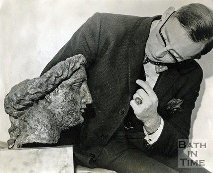 Michael Owen, curator of the Roman Baths with Minerva's Head c.1960s