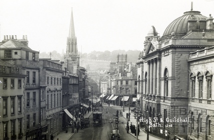 High Street with trams, view from Bath Abbey c.1915