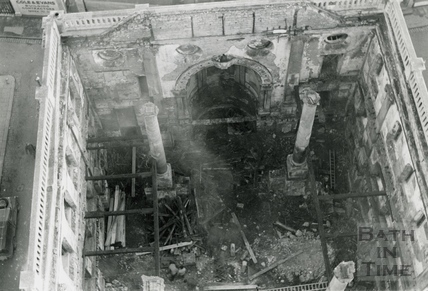 The burnt out shell of St James Church April 1942