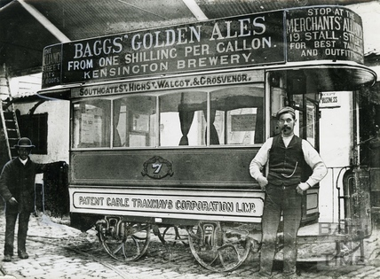 A horse tram at the terminus c.1890