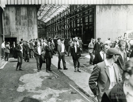 Workers leaving Stothert & Pitt's Newark Works c.1970s