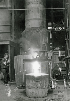 Sparks fly from the foundry at Stothert & Pitt's Newark Works 3 April 1975