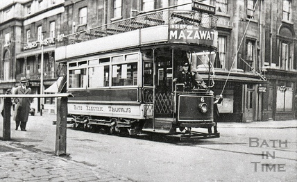 Tram no 6 outside the Argyll Hotel, Dorchester street c.1930s