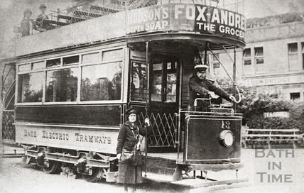 Tram no 13 outside the Crown Inn, Bathford c.1930s