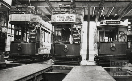 Trams nos. 16, 8 and 52 inside the tramshed, Walcot Street c.1930s