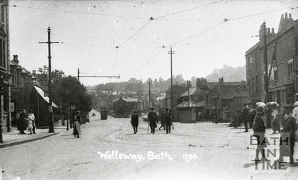 Tram in the distance and street scene, Wellsway, Bear Flat c.1910s