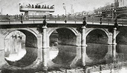 Tram crossing the Old Bridge c.1920s