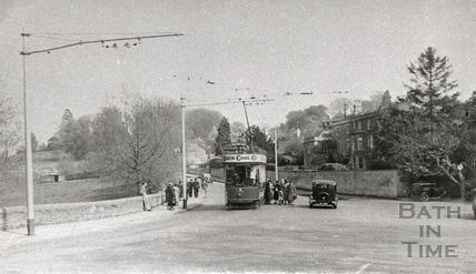 Tram no 5 outside the Crown Inn, Bathford c.1930s