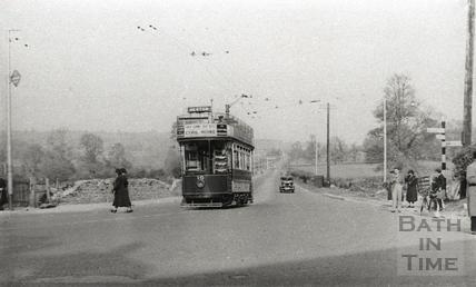 Tram no 10 at the Globe, Newton St Loe c.1930s