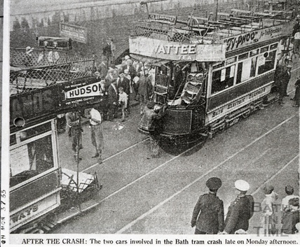 Two tramcars after running into each other c.1930s