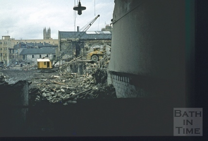 Southgate Street, Bath demolition, looking North, contractors: Hooper & Dark 21 Oct 1971