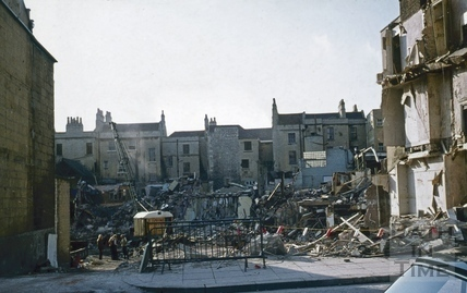 Southgate Street, demolition, 1st week, looking west from the centre of Newark Street 30 Sept 1971