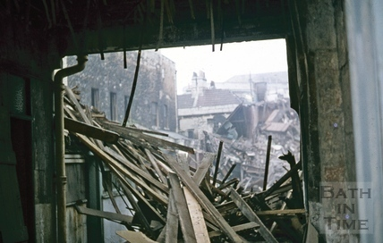 Southgate Street, Bath demolition, looking West through Silver Sails, 2nd week about Oct 1971