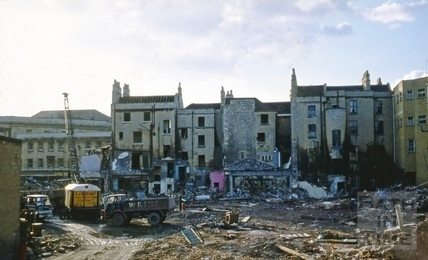 Southgate Street, Bath demolition, looking West from the centre of Newark Street, Bath Oct 1971