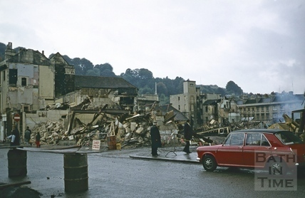 Southgate Street, demolition, looking South-west across Silver Sands 18 Oct 1971