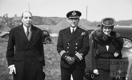 Three VIPs with Radstock coal works in the background 1940s
