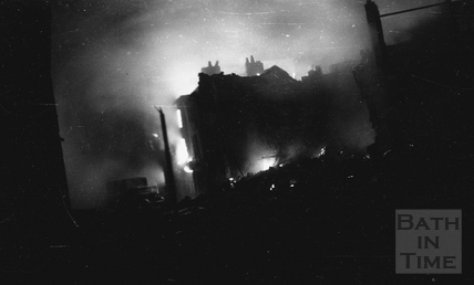 Fires blazing on the night of the Bath Blitz April 1942