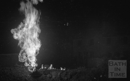 Gas fires blazing on the night of the Bath Blitz April 1942