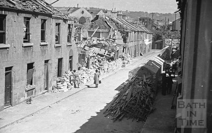 Clearing up and recycling bombed out buildings, Cheltenham Street, 1942