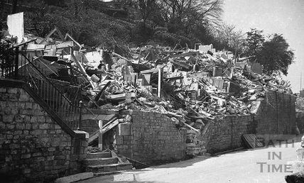 Destroyed buildings, Holloway, Bath, April 1942
