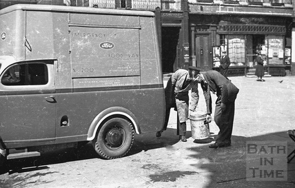 A Ford Emergency Food van in Abbey Church Yard, 1942