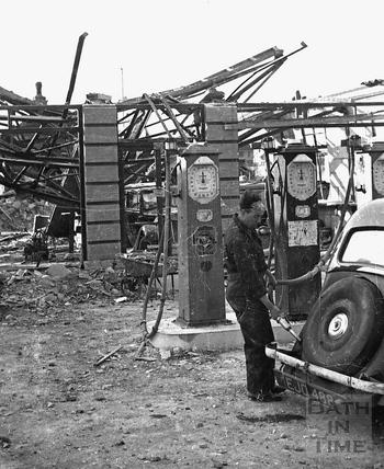 Filling up outside Hilltop Motors, Wellsway, April 1942