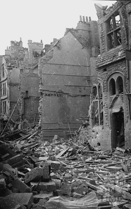 The bombed out shell of Kingsmead Board School, Bath, April 1942