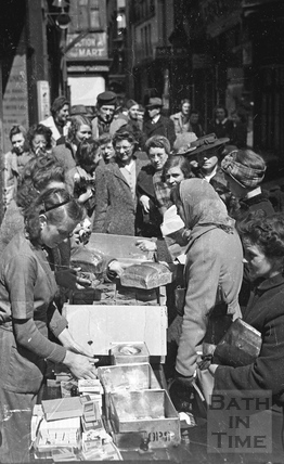 Emergency rations being handed out after the bombing of Bath, April 1942