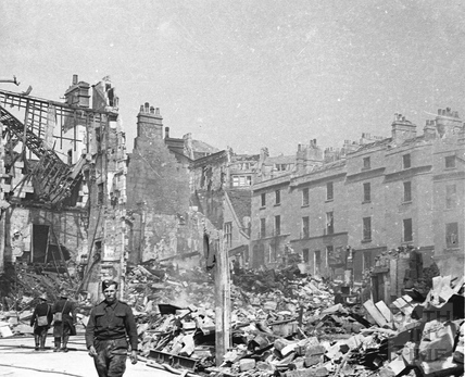 Bomb damage, Harley Street near Julian Road, April 1942