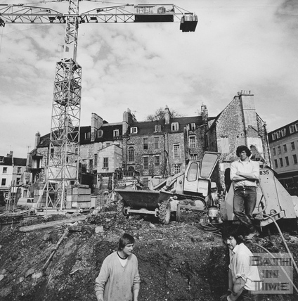 Demolition workers, behind Kingsmead Square, March 1972