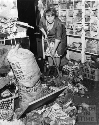 Mopping up after the flood, July 1968?