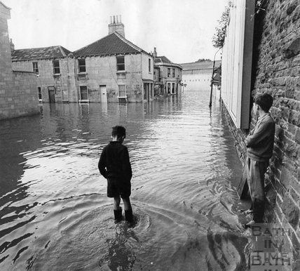 Floods in Cheltenham Street, off the Lower Bristol Road, July 1968