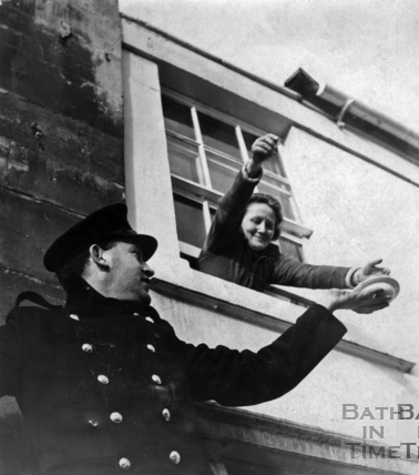 A helping hand for a marooned Bathonian, December 1960