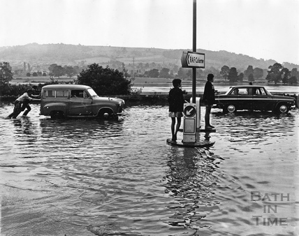 Fiveways, Batheaston in flood July 1968