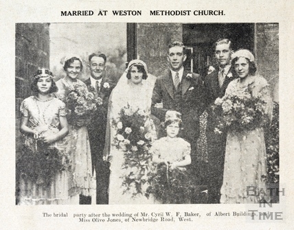 The Bridal Party at Weston Methodist Church, Sept 1933