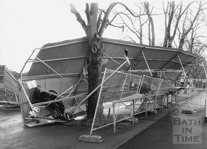 A bicycle shed, destroyed by gales 2 Feb 1990