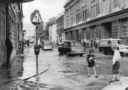 Paddling on the zebra crossing, Dorchester Street, July 1968