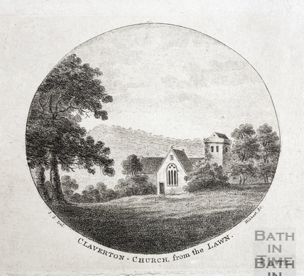 Claverton Church from the lawn (of Claverton Manor) c.1796