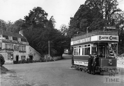 Tram number 12 and conductor and clippie at the terminus at Newton St Loe 1935