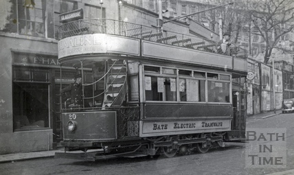 Tram car no 20 in Walcot Street c.1935