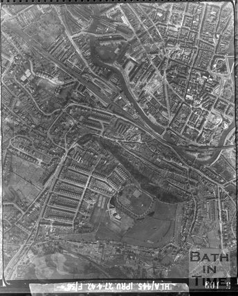1942 Aerial Photograph of the southern end of Bath, Wellsway and Bear Flat April