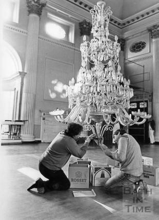 The Pump Room chandeliers undergoing maintenance 7 Jan 1986