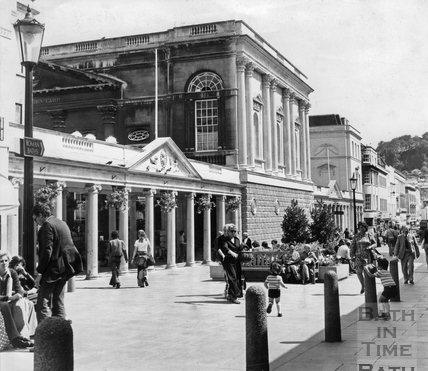 A view of the newly cleaned colonnade and Pump Rooms, 18 August 1975