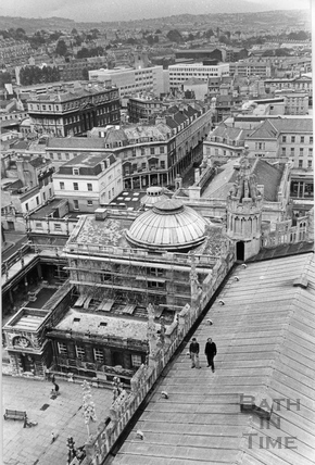 View from the Abbey tower of the Pump Room and baths 10 Oct 1977